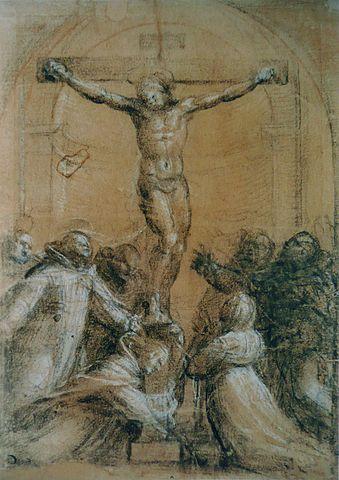 """""""Crucifixion avec sainte Catherine de Sienne, saint Dominique et d'autres saints"""" by Fra. Bartolommeo, O.P. (1472-1517)"""