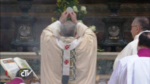 Pope Francis celebrating Mass ad orientem